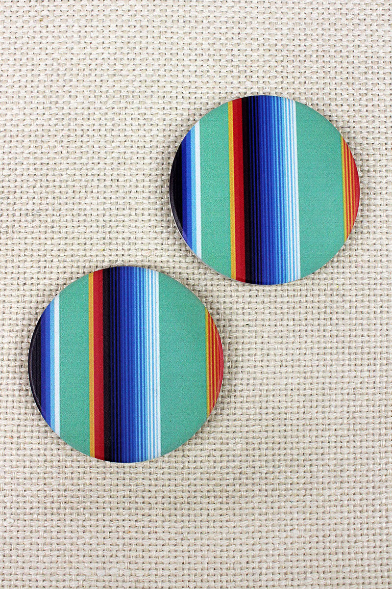 2 Piece Mint Serape Car Coaster Set