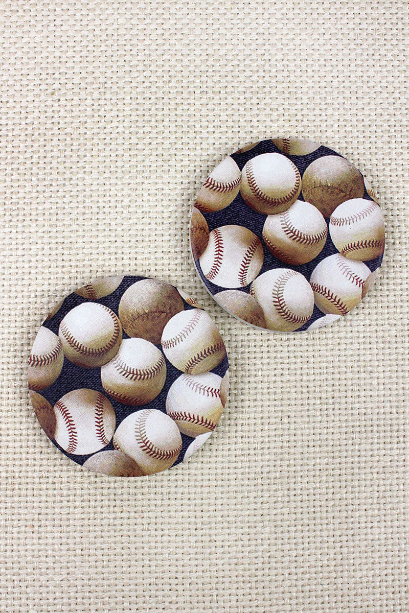 2 Piece Baseball Car Coaster Set