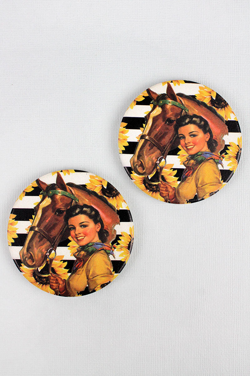 2 Piece Cowgirl Sunflower Stripe Car Coaster Set