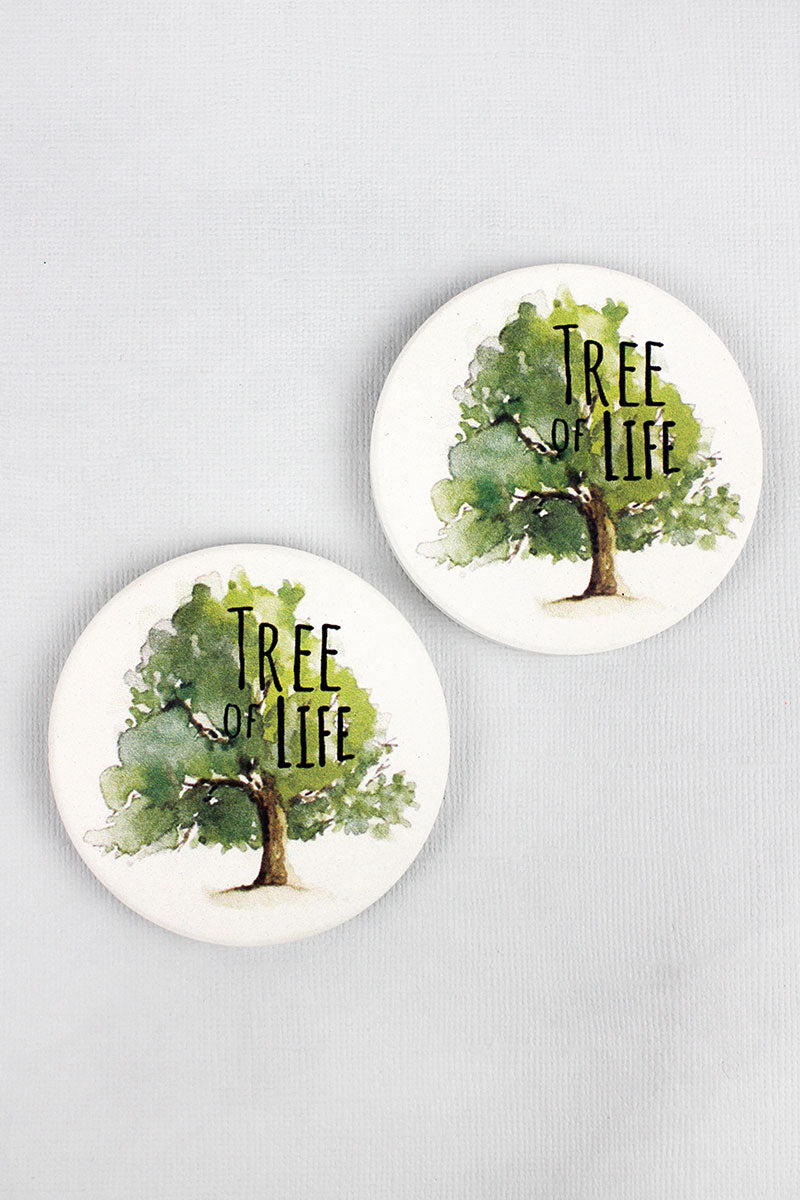 2 Piece Tree Of Life Car Coaster Set