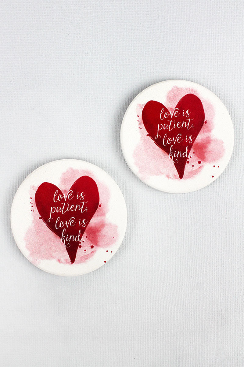 2 Piece Love Is Patient Love Is Kind Car Coaster Set