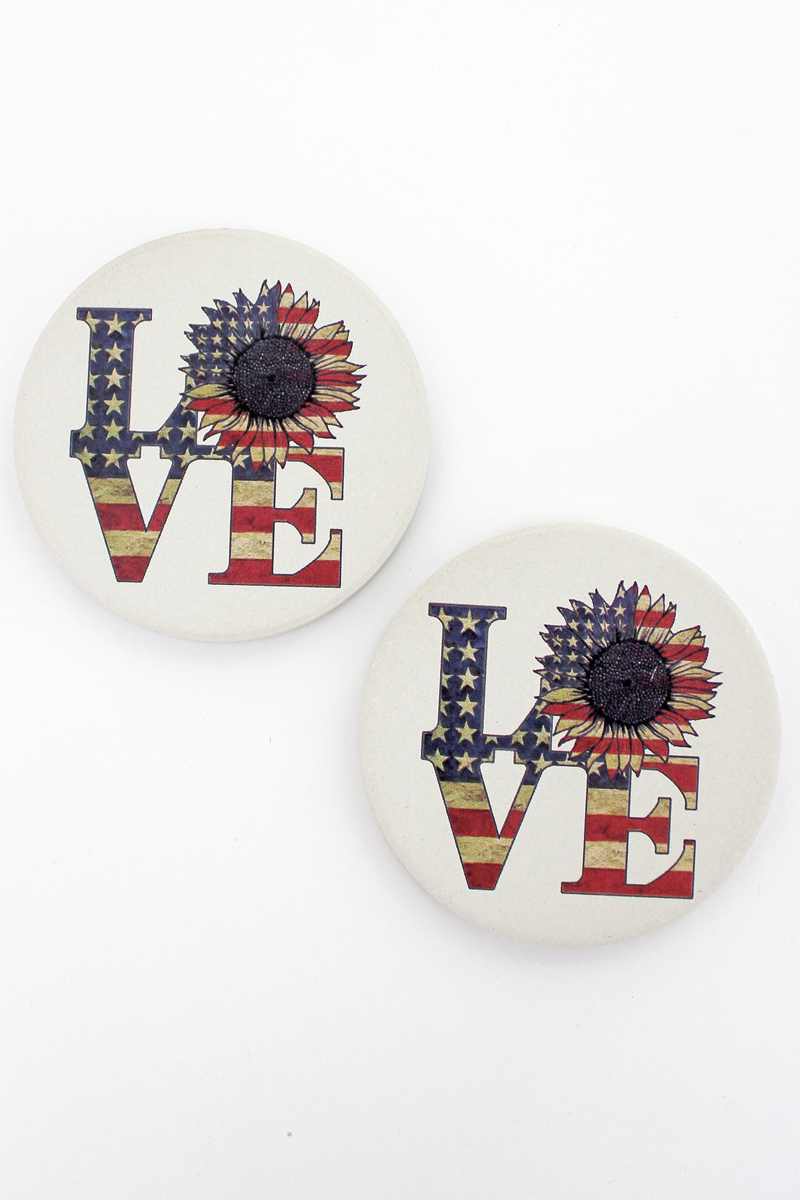 2 Piece American Flag Sunflower 'Love' Car Coaster Set