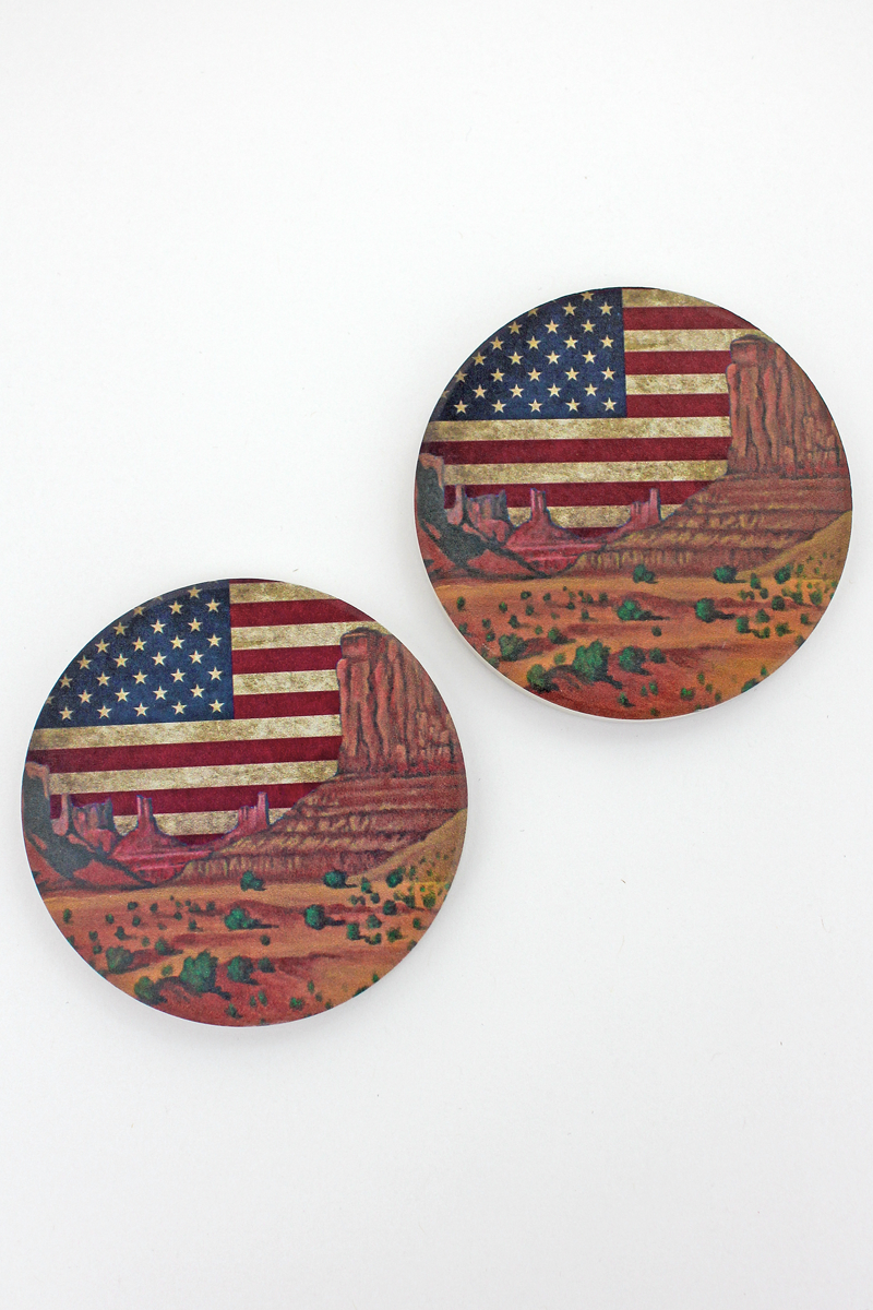 2 Piece American Flag Southwest Landscape Car Coaster Set