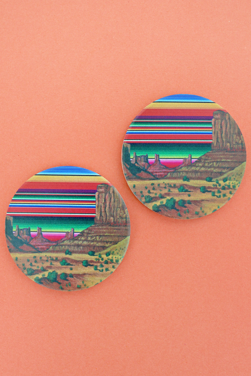 2 Piece Serape Southwest Landscape Car Coaster Set