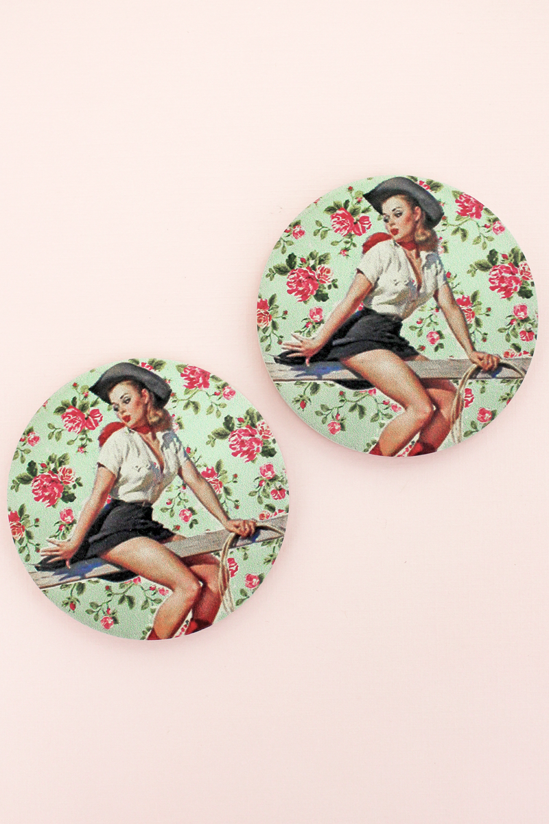 2 Piece Cowgirl Pinup Bouquet Car Coaster Set