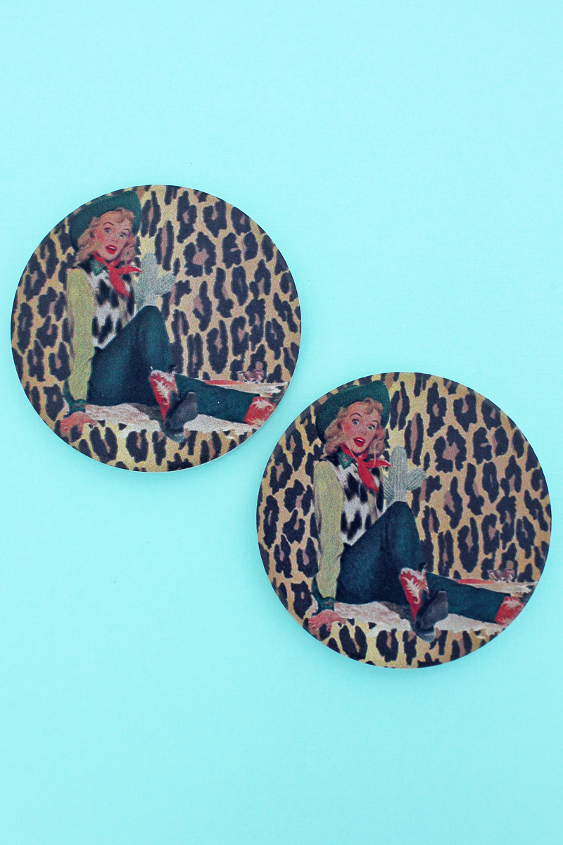 2 Piece Vintage Cowgirl Leopard Car Coaster Set