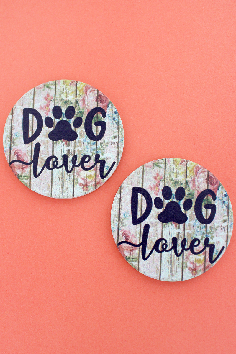 2 Piece Dog Lover Car Coaster Set