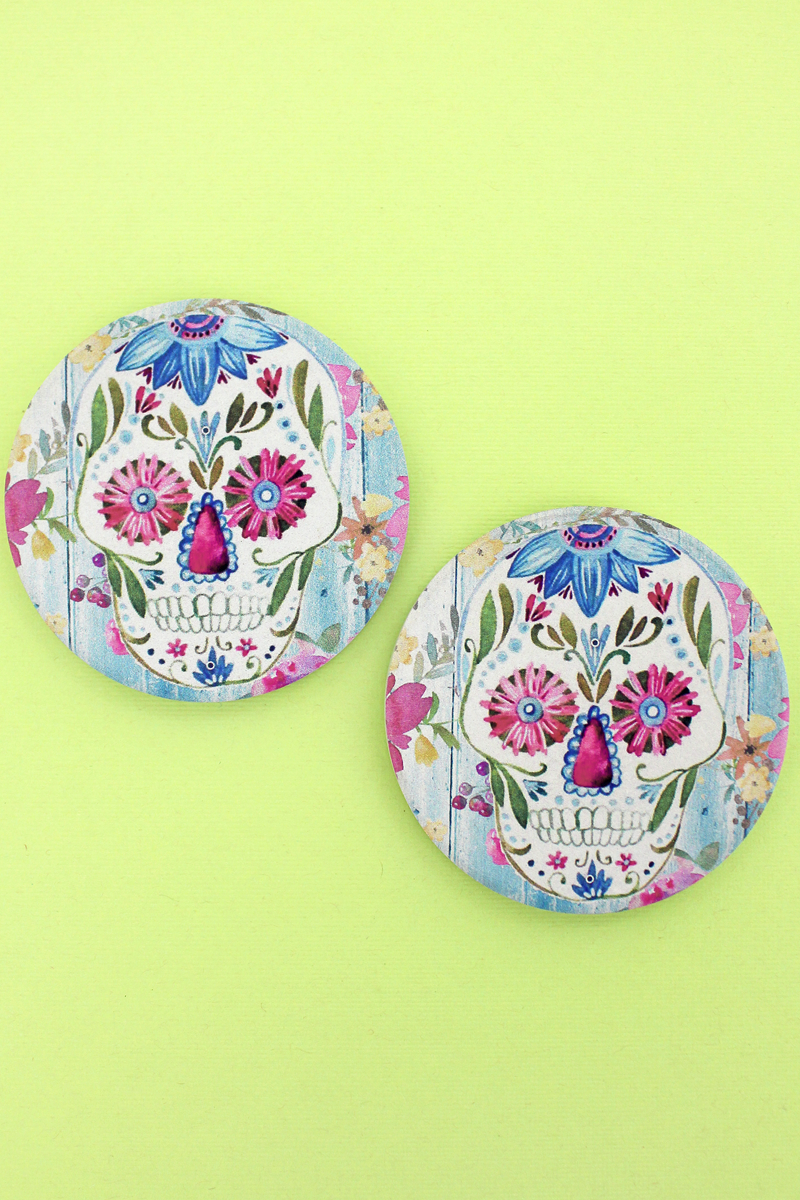 2 Piece Sugar Skull Car Coaster Set