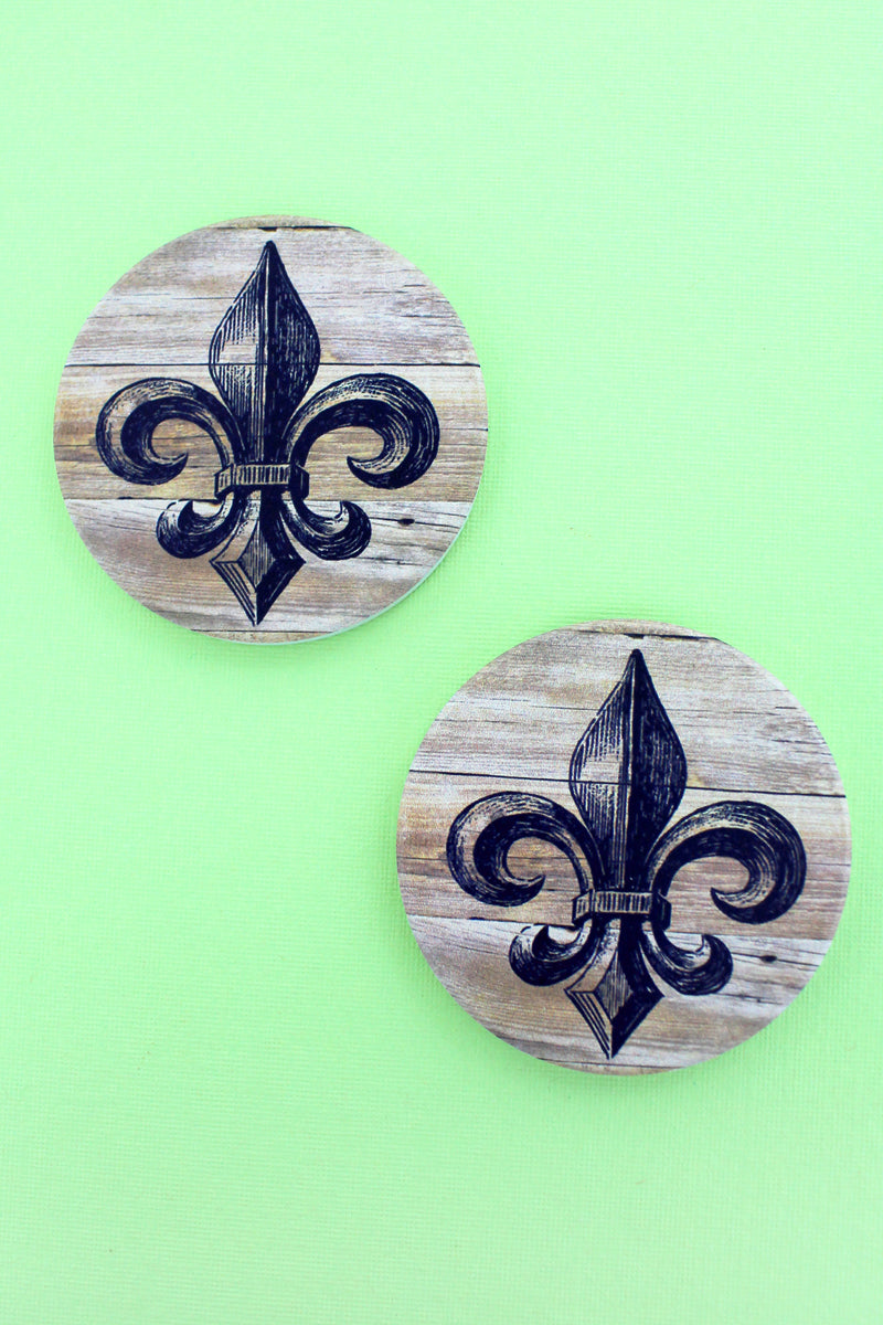 2 Piece Fleur De Lis Car Coaster Set