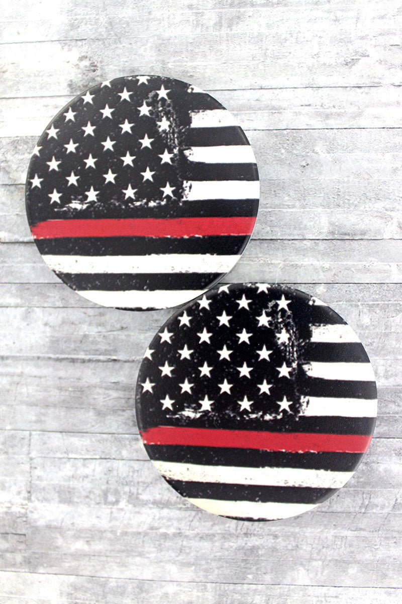 2 Piece Thin Red Line Flag Car Coaster Set