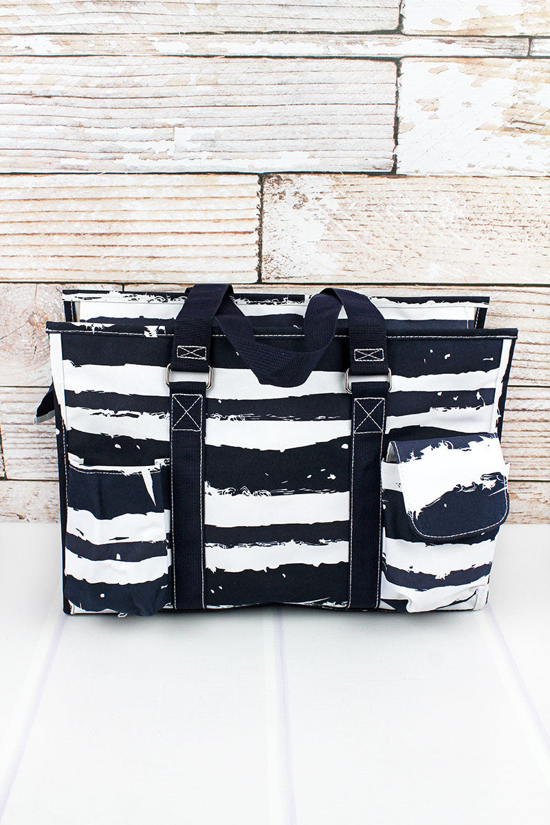 NGIL Ocean Breeze Utility Tote with Navy Trim