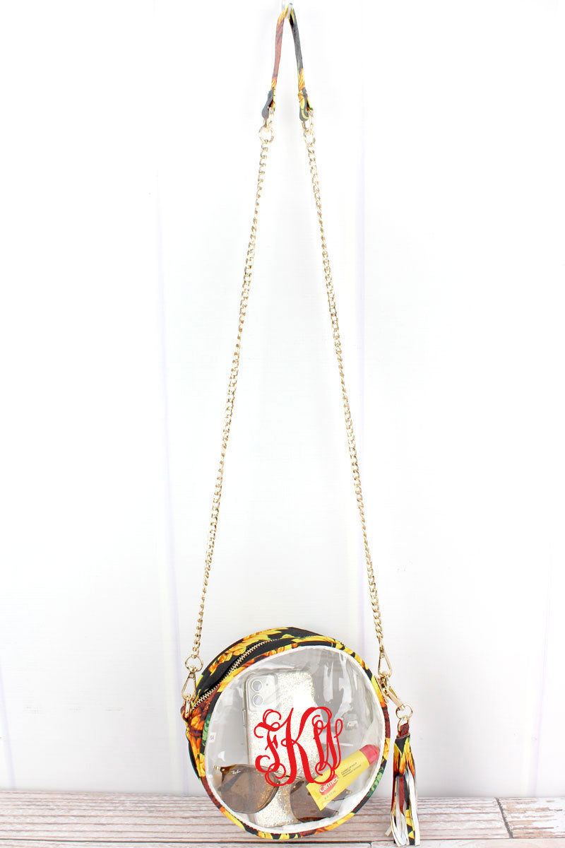 NGIL Clear Round Crossbody Bag with Sunflower Trim