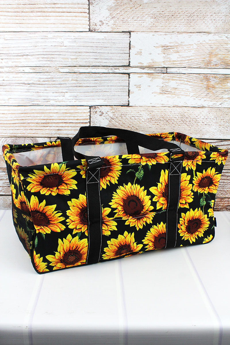 NGIL Sunflower Collapsible Haul-It-All Basket with Mesh Pockets