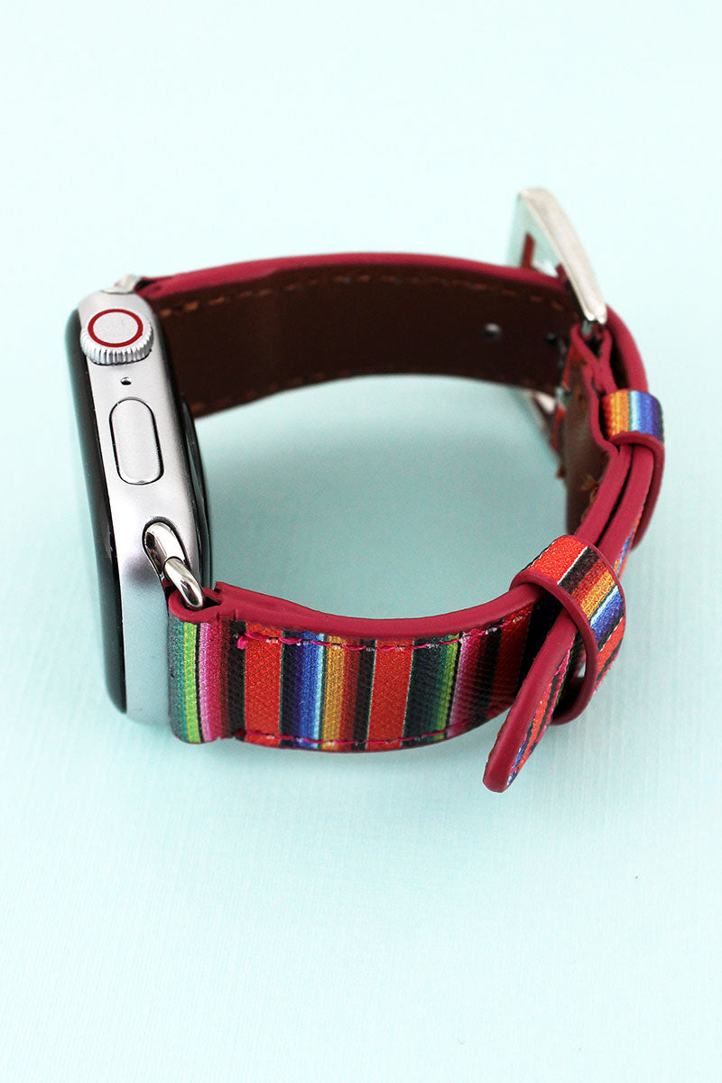 Serape Faux Leather Adjustable Band for Apple Watch