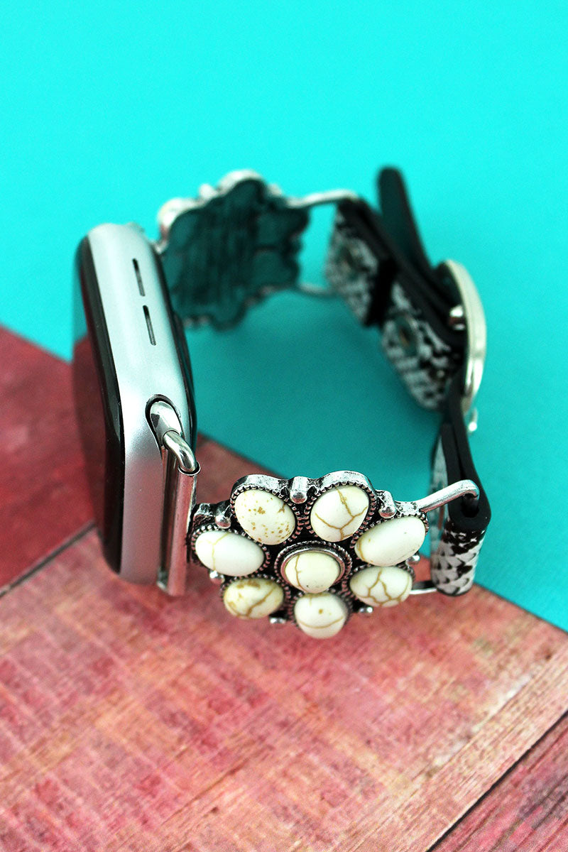 White Beaded Flower and Faux Snakeskin Adjustable Band for Apple Watch