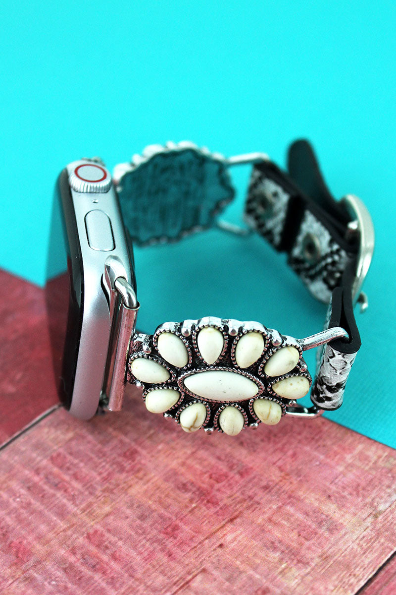 White Beaded Oval and Faux Snakeskin Adjustable Band for Apple Watch