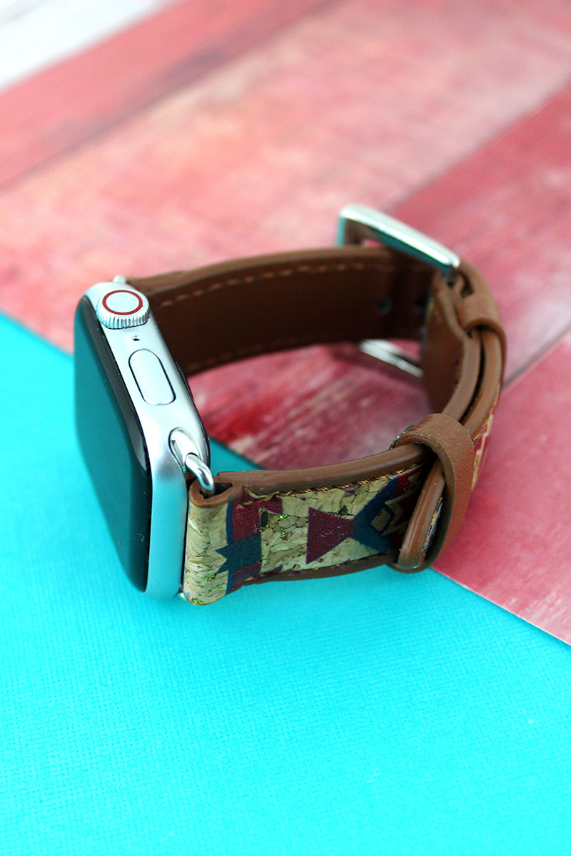 Red Mesa Cork and Faux Leather Adjustable Band for Apple Watch