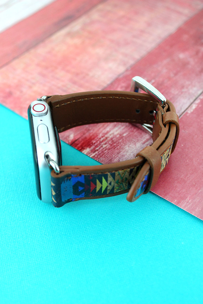 Albuquerque Skies Cork and Faux Leather Adjustable Band for Apple Watch