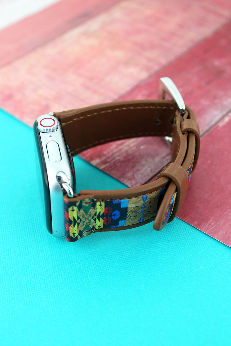 New Mexico Days Cork and Faux Leather Adjustable Band for Apple Watch