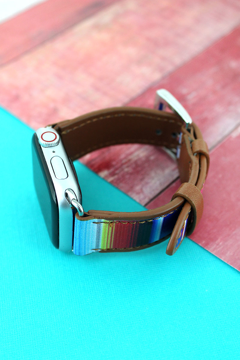 Southwestern Serape Faux Leather Adjustable Band for Apple Watch
