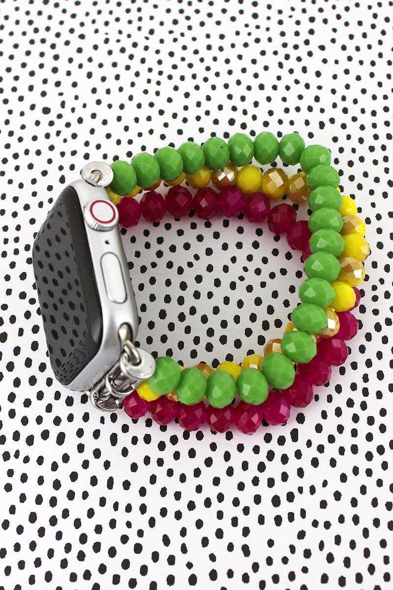 Fuchsia, Yellow, and Green Glass Bead Bracelet Band for Apple Watch