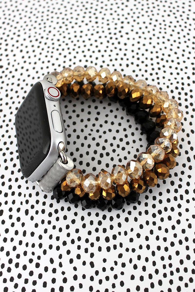 Black, Bronze, and Champagne Glass Bead Bracelet Band for Apple Watch