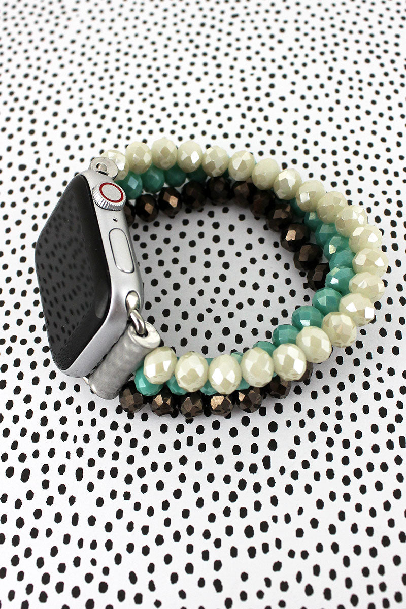 Hematite, Teal, and Ivory Glass Bead Bracelet Band for Apple Watch