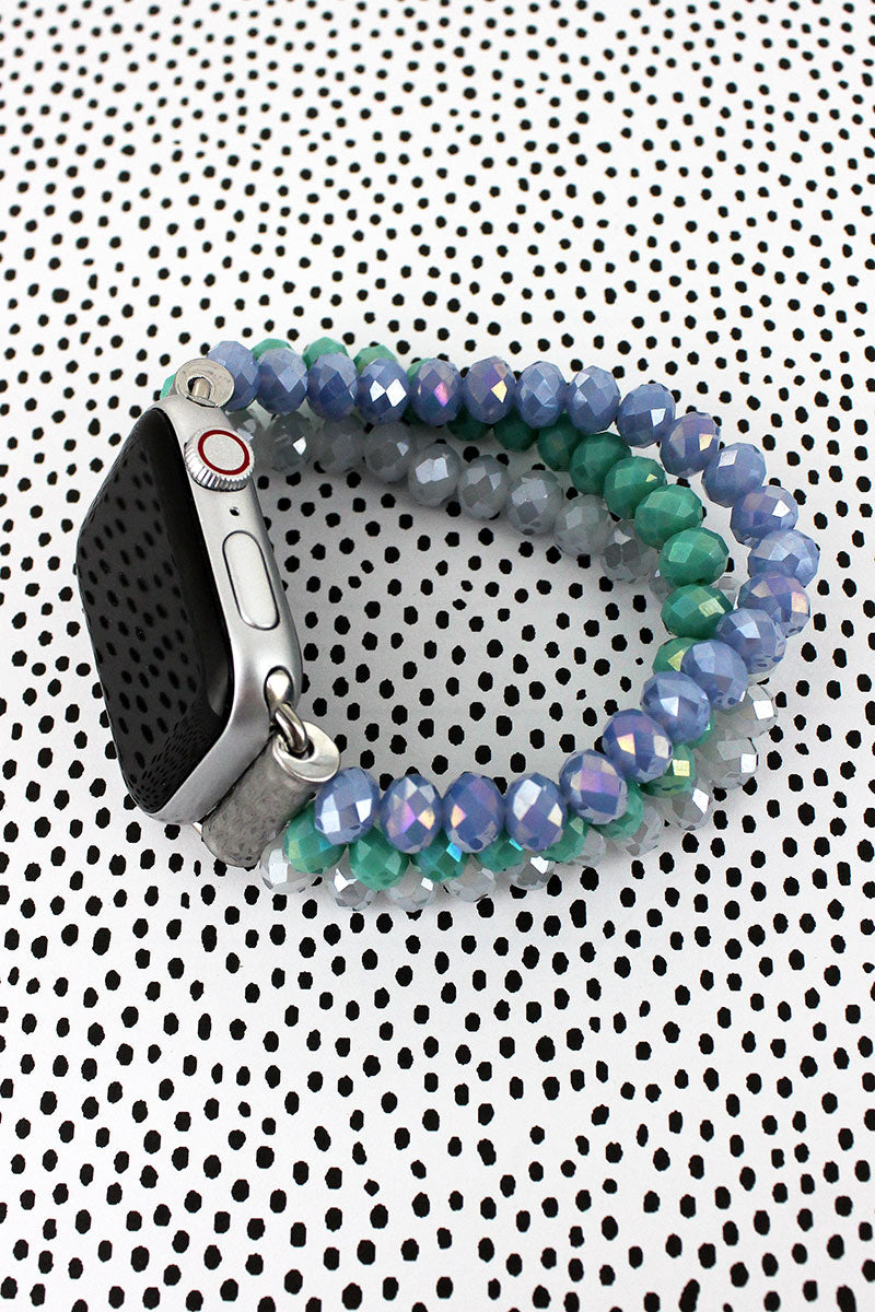 Blue, Teal, Smoke Glass Bead Bracelet Band for Apple Watch