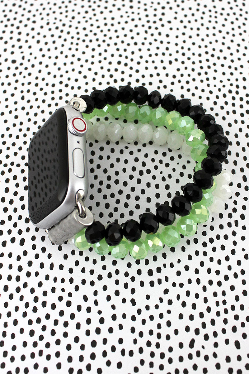 Black, Mint, and White Glass Bead Bracelet Band for Apple Watch
