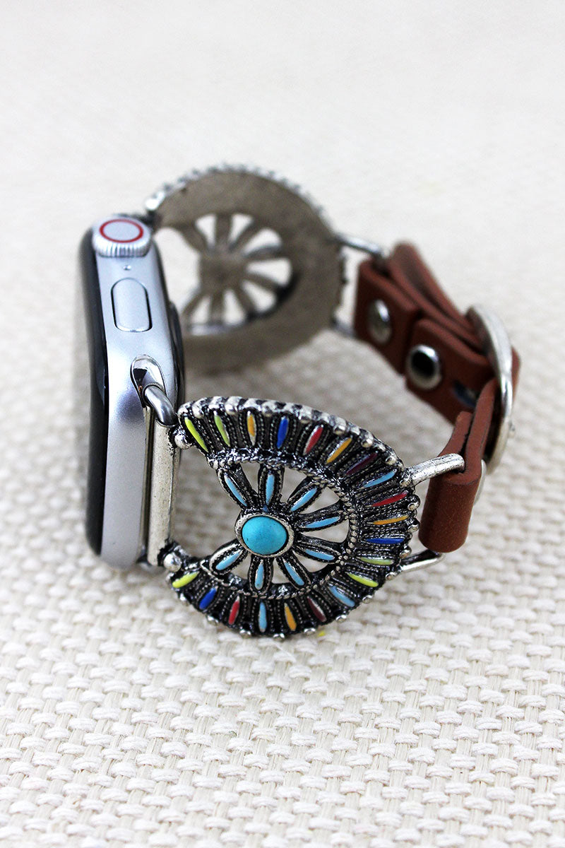 Multi-Color Western Flower Disk Faux Leather Adjustable Band for Apple Watch