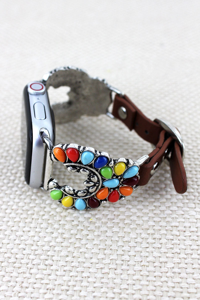 Multi-Color Beaded Nala Faux Leather Adjustable Band for Apple Watch