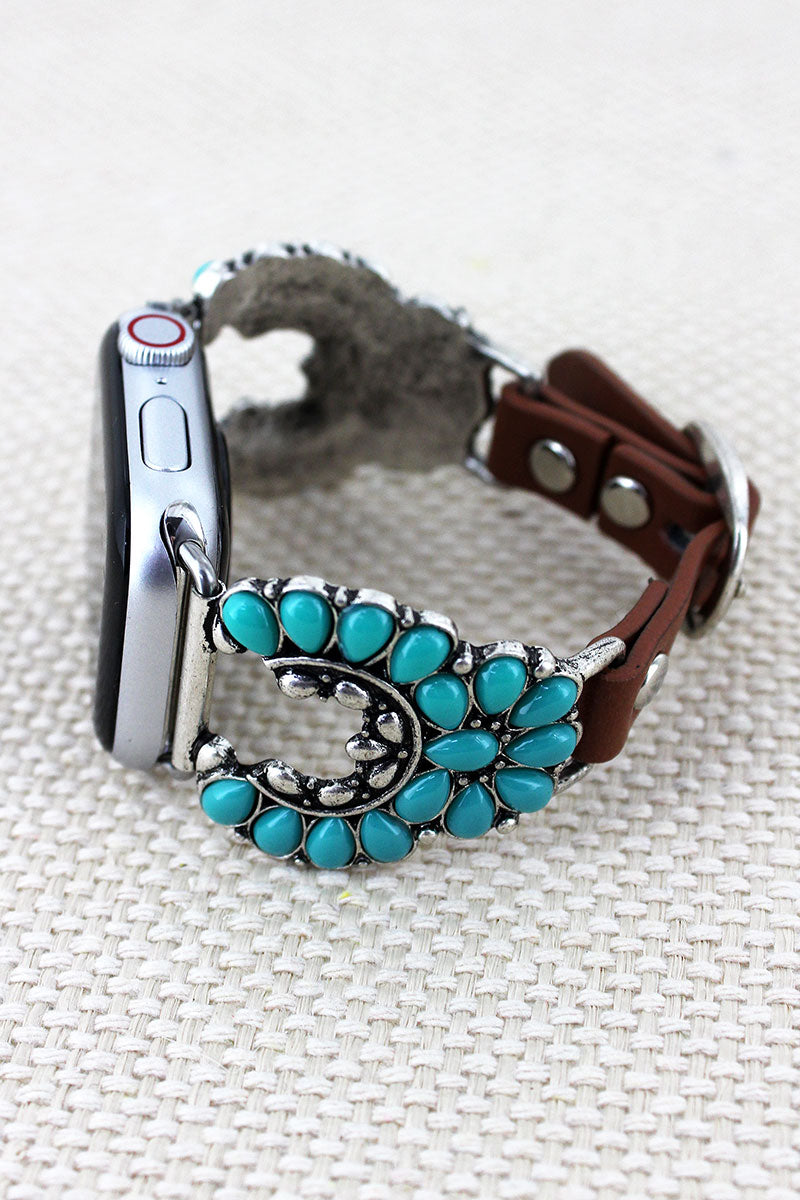 Turquoise Beaded Nala Faux Leather Adjustable Band for Apple Watch