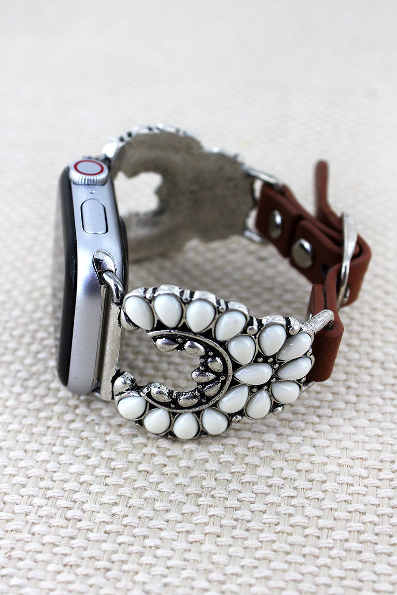 White Beaded Nala Faux Leather Adjustable Band for Apple Watch