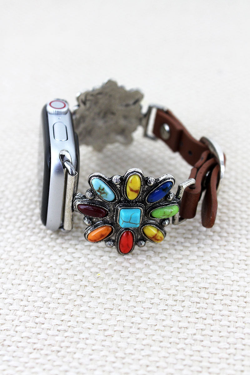 Multi-Color Beaded Western Flower Faux Leather Adjustable Band for Apple Watch