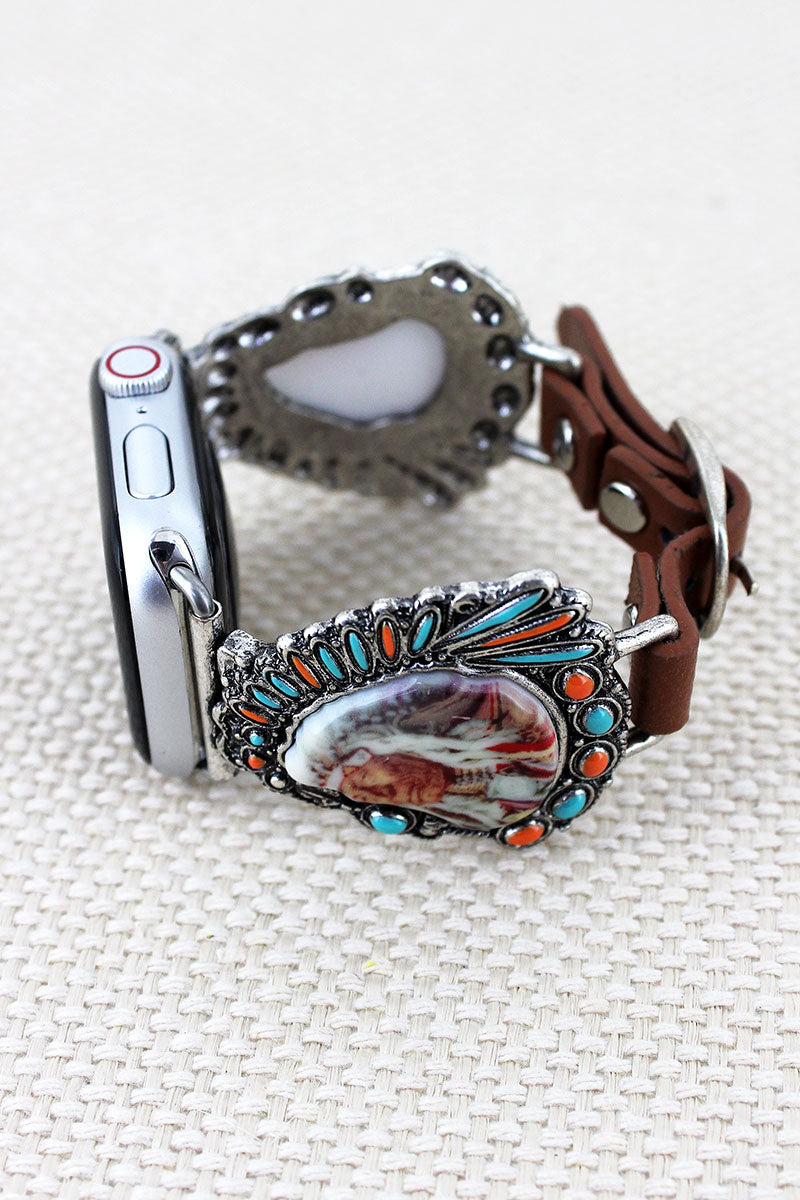Native American Chief Faux Leather Adjustable Band for Apple Watch