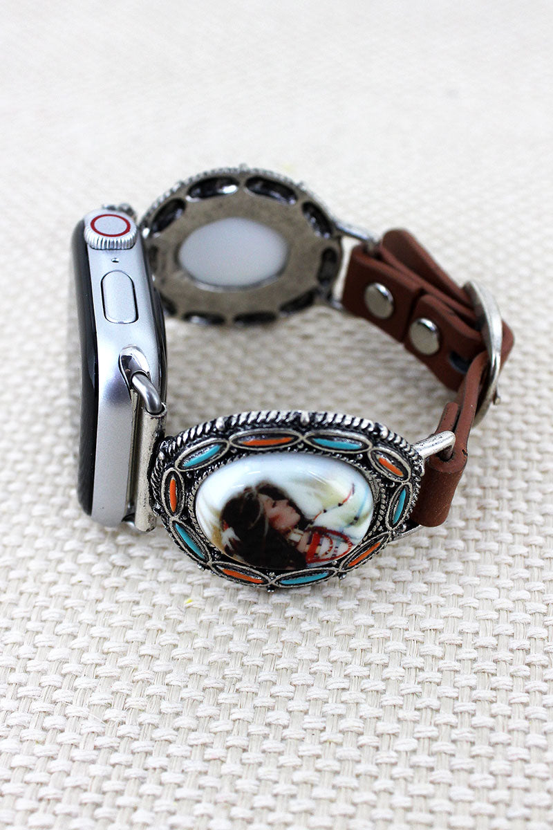 Native American Woman Faux Leather Adjustable Band for Apple Watch