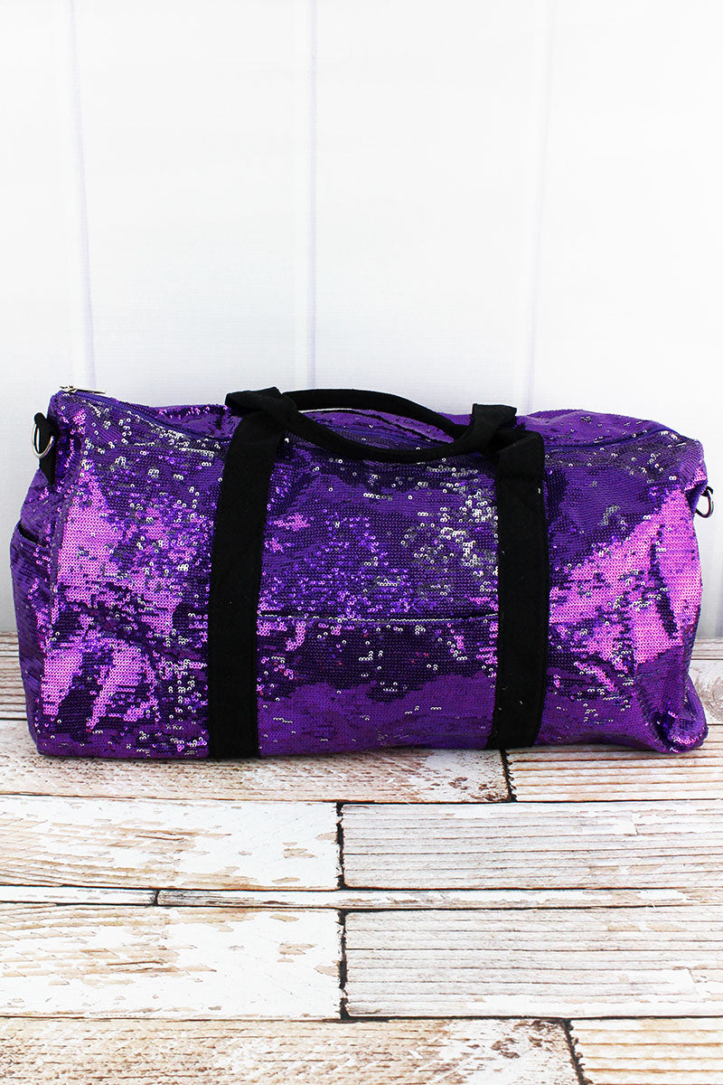 NGIL Purple and Silver Mermaid Sequin Duffle Bag 21""