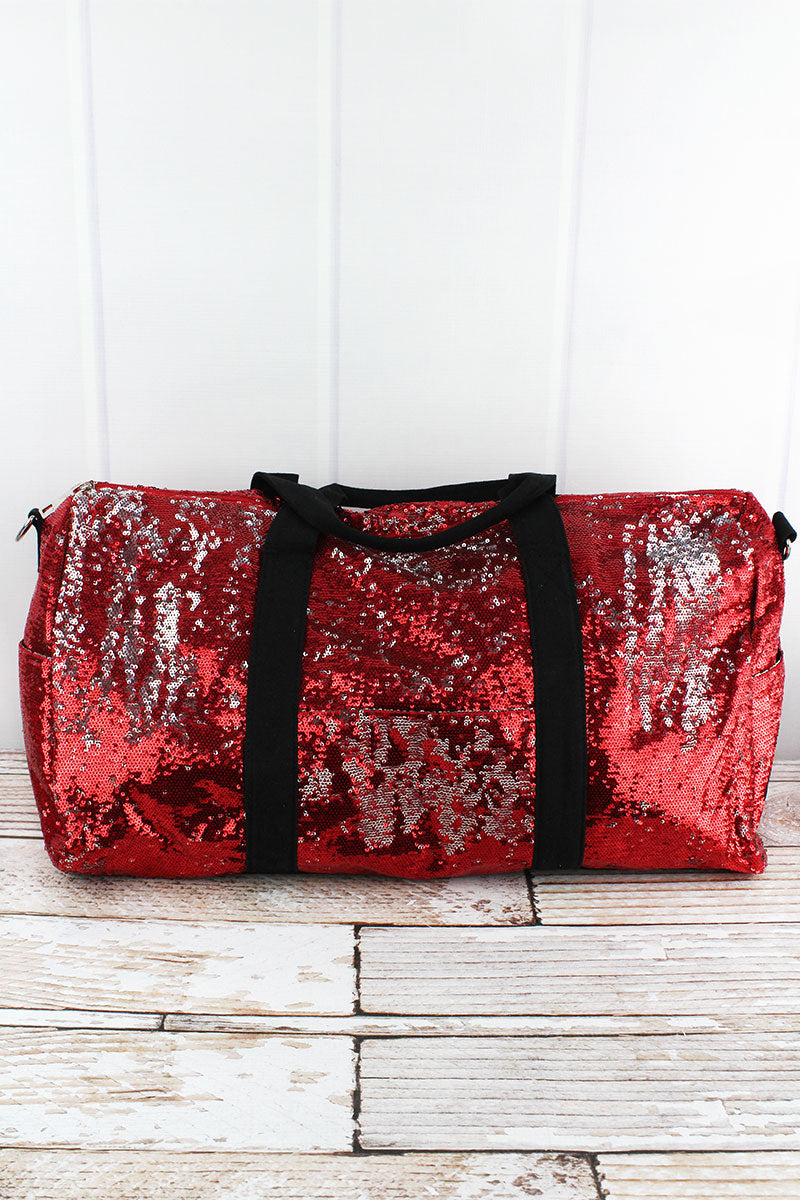 NGIL Red and Silver Mermaid Sequin Duffle Bag 21""