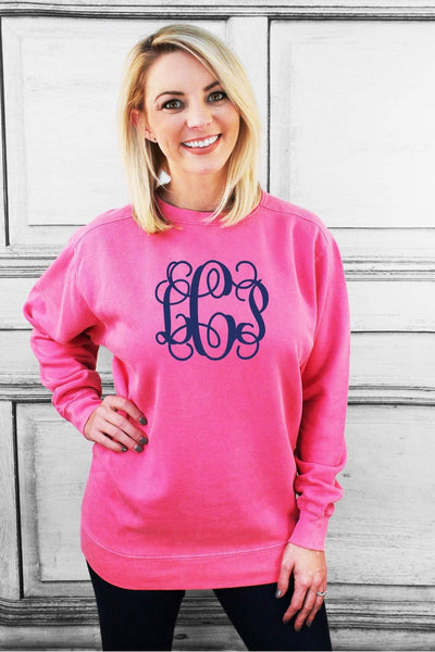 Large Monogram Comfort Colors Adult Crew-Neck Sweatshirt #1566 *Customizable (Wholesale Pricing N/A) (PLEASE ALLOW 3-5 BUSINESS DAYS. EXPEDITED SHIPPING N/A) - Wholesale Accessory Market
