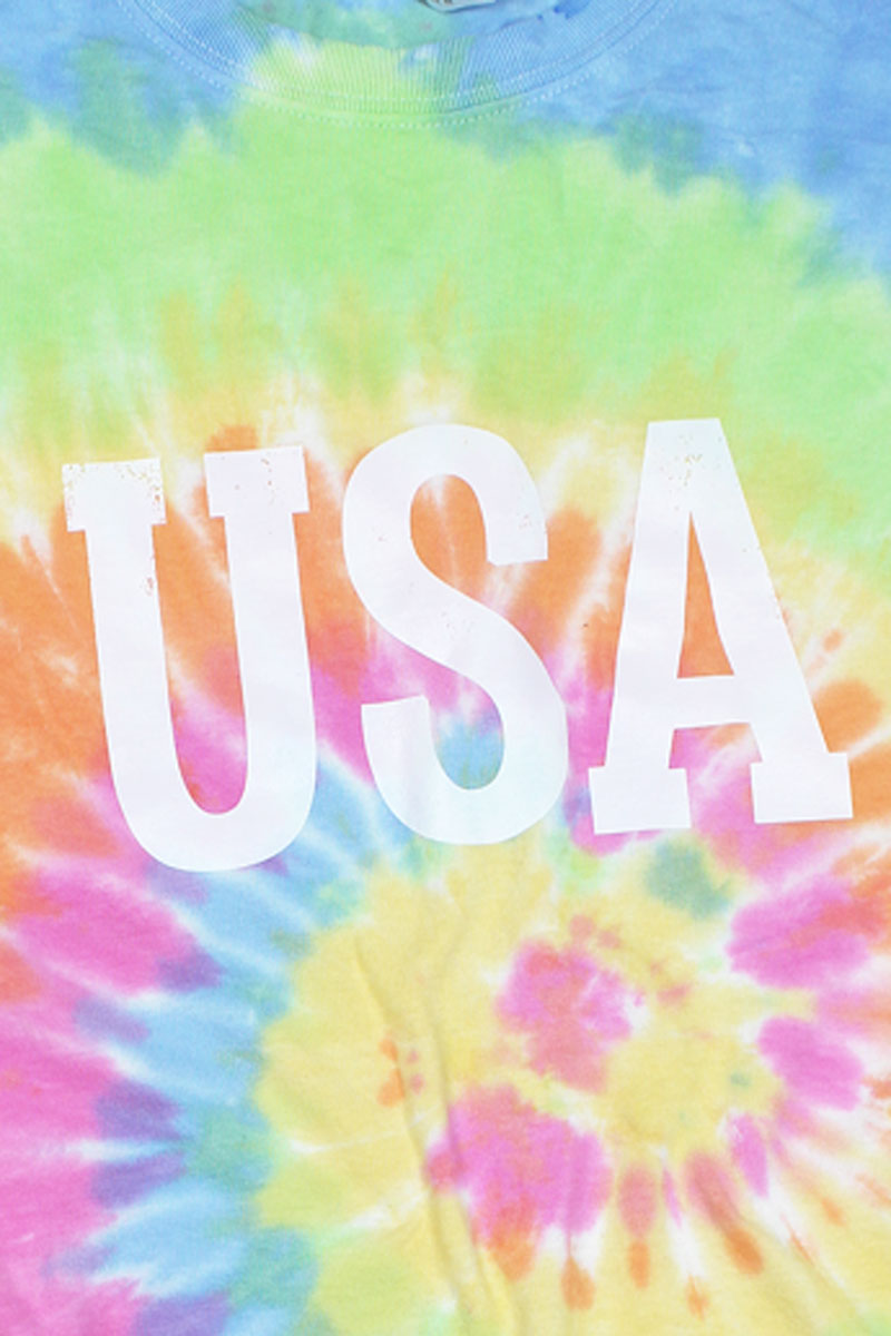 Distressed USA Multi Tie Dye Tee