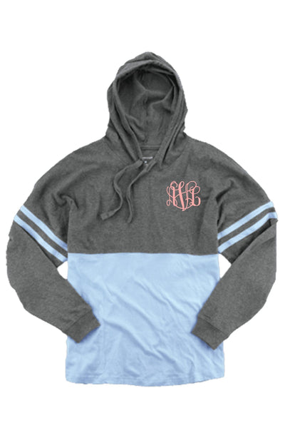 Hooded Pom Pom Jersey, Granite and Carolina Blue #T18 *Personalize It (PLEASE ALLOW 3-5 BUSINESS DAYS. EXPEDITED SHIPPING N/A) - Wholesale Accessory Market