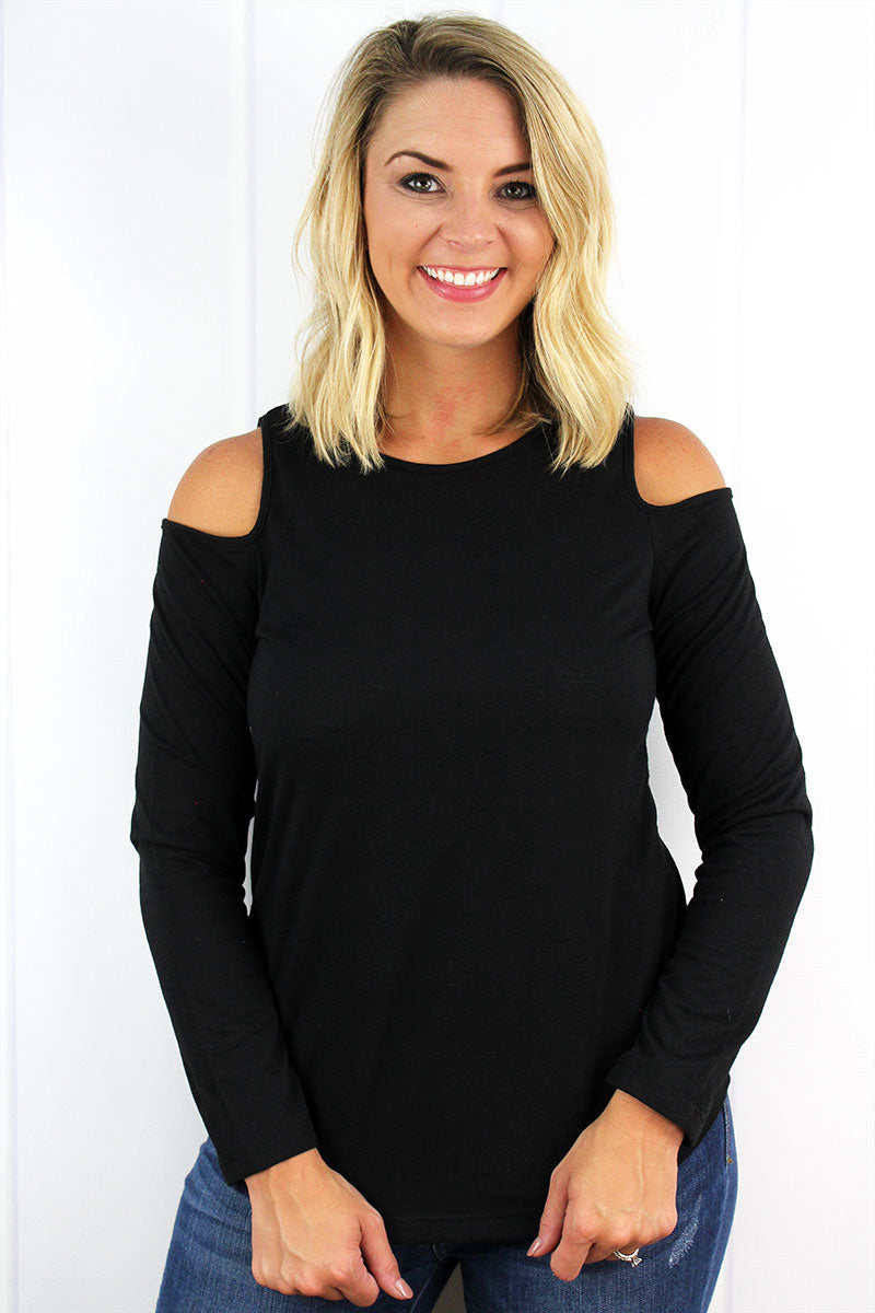Boxercraft Ladies Black Cold Shoulder Long Sleeve Tee