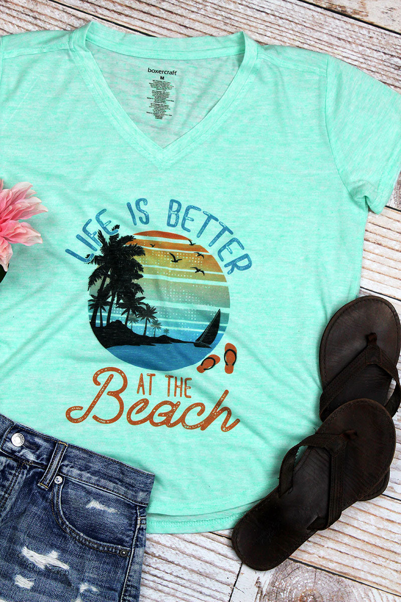 Life Is Better At The Beach Ladies Snow Heather Short Sleeve V-Tee