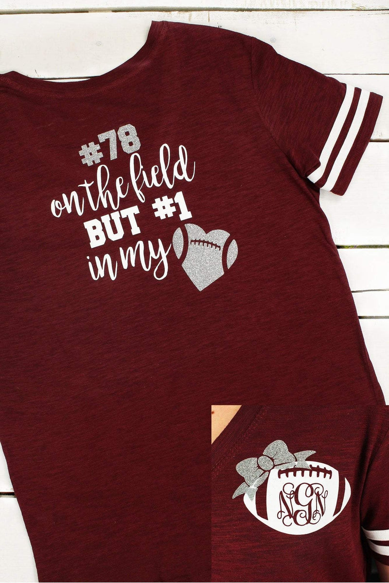 Football Girlfriend Sporty Slub Tee #T62 *Enter Initials and Player Number (Wholesale Pricing N/A) (PLEASE ALLOW 3-5 BUSINESS DAYS. EXPEDITED SHIPPING N/A)