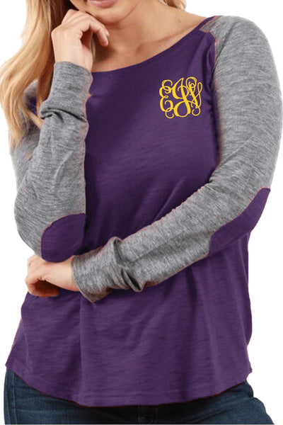Boxercraft Plus Size Purple and Granite Preppy Patch Tee #T66PGRPLUS *Personalize It (PLEASE ALLOW 3-5 BUSINESS DAYS. EXPEDITED SHIPPING N/A)
