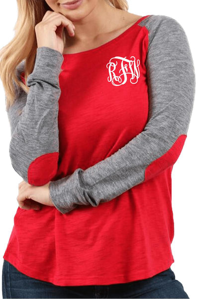 Boxercraft Plus Size Red and Granite Preppy Patch Tee #T66RGRPLUS *Personalize It (PLEASE ALLOW 3-5 BUSINESS DAYS. EXPEDITED SHIPPING N/A)