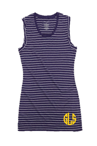 Purple Stripe Sleeveless Dress/Cover Up #T84 *Personalize It (PLEASE ALLOW 3-5 BUSINESS DAYS. EXPEDITED SHIPPING N/A)