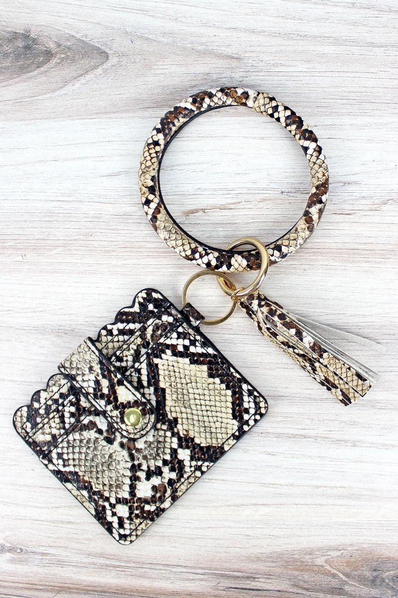 Tan Snakeskin Bangle Keychain with ID Card Holder