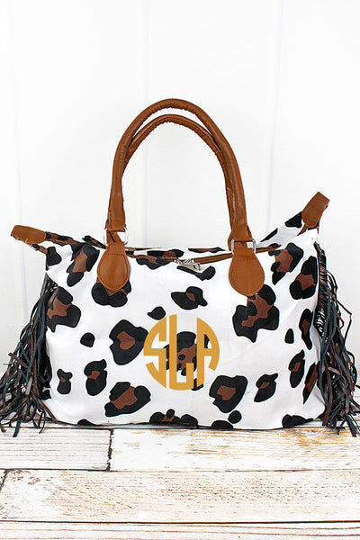 Larger Than Life Faux Snow Leopard Fur Tassel Tote