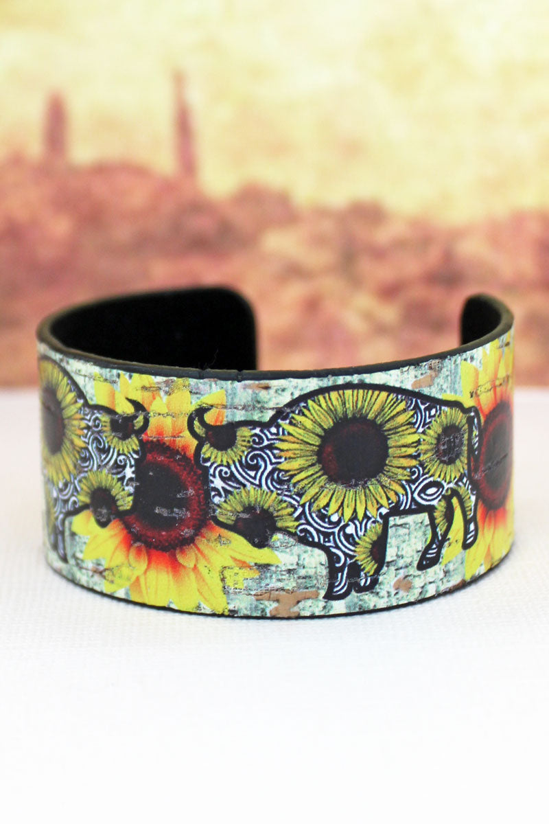 Sunflower Buffalo Cork Cuff Bracelet